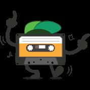 Dancing Cassette Tape Vintage Style