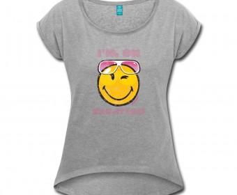 smiley-world-i-m-on-vacation-frauen-t-shirt-frauen-t-shirt-mit-gerollten-aermeln