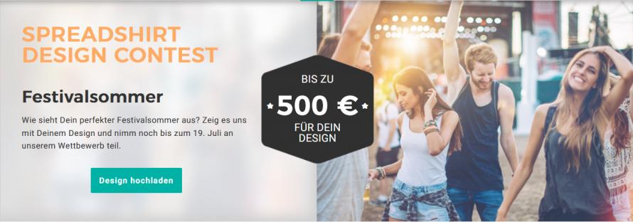 Design Wettbewerb bei Spreadshirt: Festival Motiv für T-Shirt-Druck