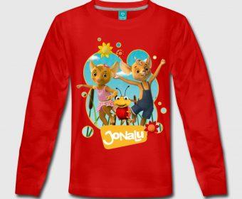 Kinder Langarm Shirt Jonalu rot bedrucken bei Spreadshirt