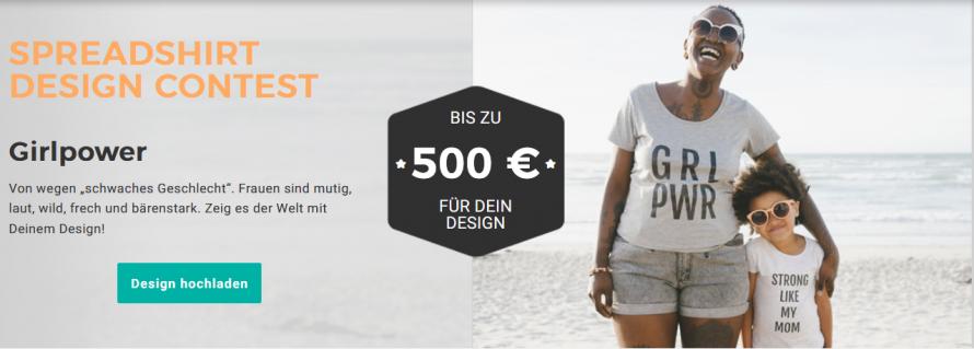 Screenshot Spreadshirt Designwettbewerb Girlpower