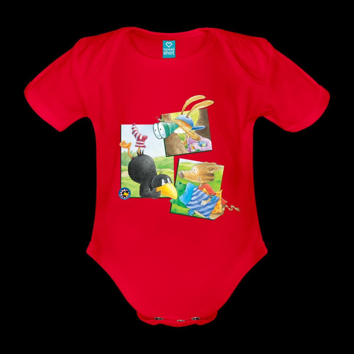 Baby Bio Kurzarmbody Der kleine Rabe Socke mit Wildschwein und Hase