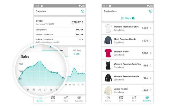 Screenshot der Spreadshirt App für Partner SpreadApp