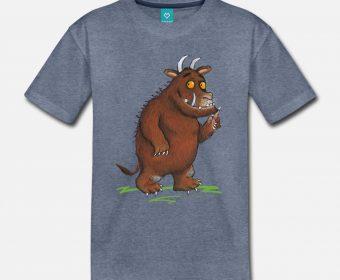 Kinder T-Shirt blau bedruckt mit Motiv Grüffelo